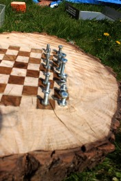 Chessboard & bolt pieces