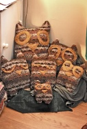 Owls from 2 found jumpers and stuffing from an old sofa cushion.