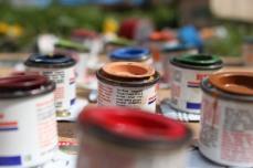sweet little test-paint-pot-checker-pieces! so colourful.
