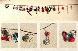 Scrap earrings - copper wire, buttons, fabric scraps and old computer parts