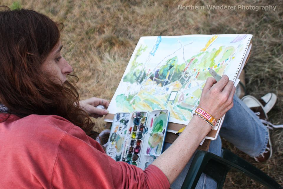 Blanche Ellis - Shambala Festival Healing Fields drawing in progress - Pic 2 by Northen Wanderer