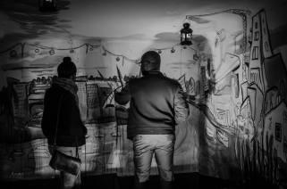 b&w night view of caravanserai 21artists mural 1 - blanche ellis
