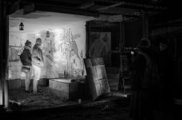b&w night view of caravanserai 21artists mural - blanche ellis