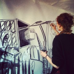 Working on a live illustration concept work at Caravnserai